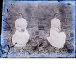 Woman sitting in the woods, Batson, Texas