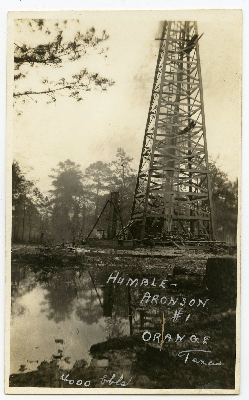 postcard of an oil well in Orange.