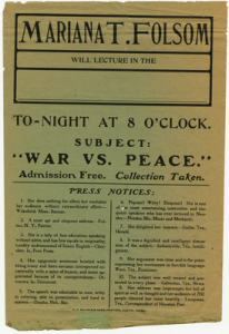Mariana T. Folsom lecture  Subject: War vs. Peace