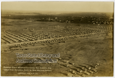 National Guard Mobilization Camp, San Antonio, Texas, taken from aeroplane flown by Miss Marjorie Stinson (aerial view of camp)