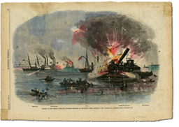 Attack of the Rebels Upon Our Gun Boat Flotilla at Galveston, TX, January 1, 1863