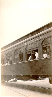 Photo of people riding the Missouri, Kansas, Texas train