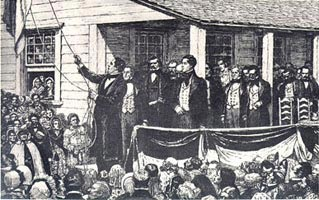 President Anson Jones lowering the flag of the Republic of Texas following annexation by the United States.
