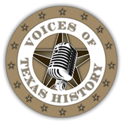 Voices of Texas History Logo with a graphic of a microphone and a star