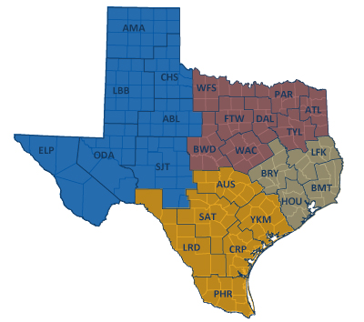 District Boundary map courtesy of Texas Department of Transportation site