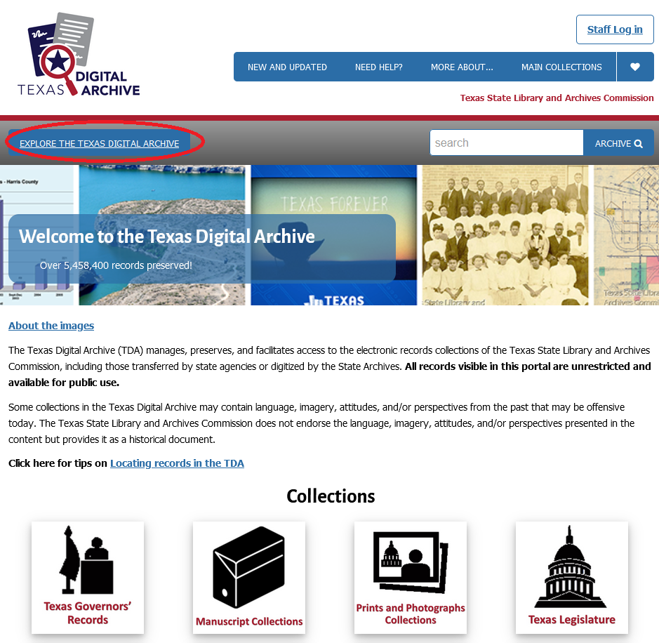 """red circle around button to """"Explore Texas Digital Archive"""""""
