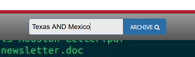 search bar with the words Texas AND Mexico