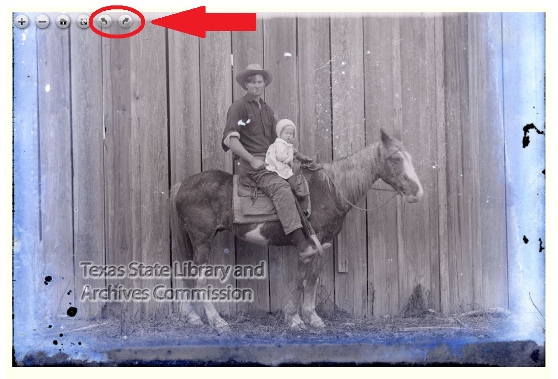 red circle around rotate buttons in image viewer