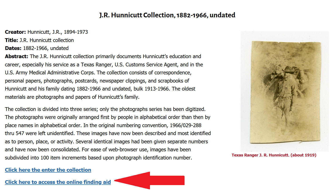 arrow pointing to link to online finding aid for Hunnicut collection