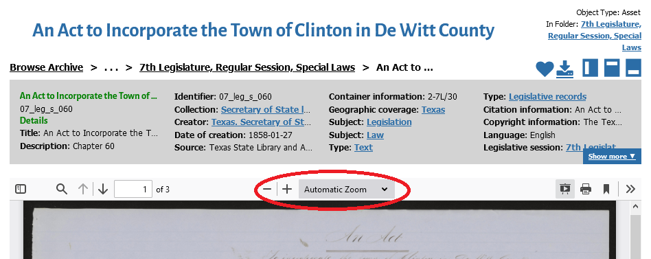 red circle around zoom options in document viewer