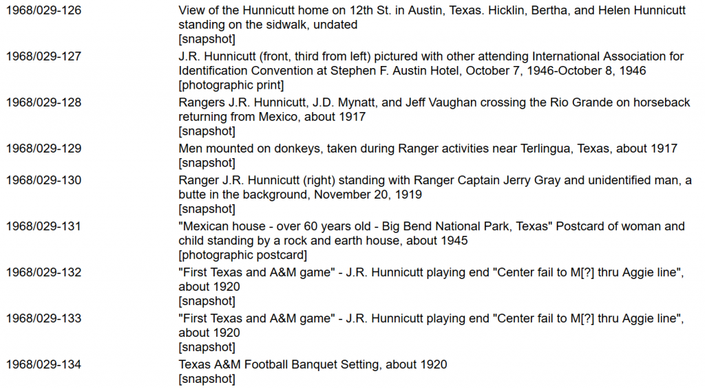 snipped screenshot from J. R. Hunnicut Collection finding aid