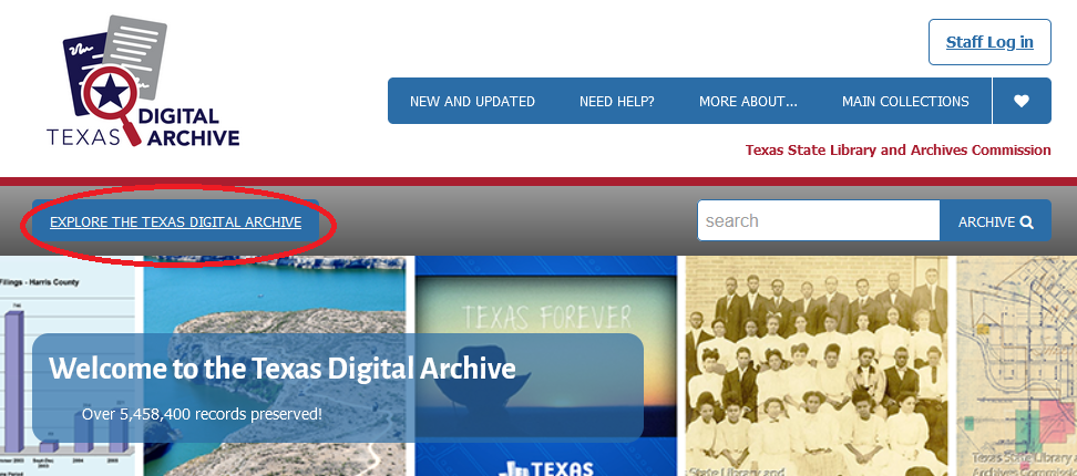 red circle around Explore the Texas Digital Archive button