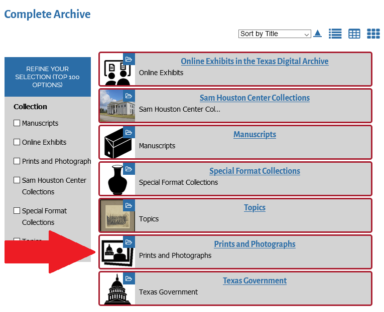 arrow pointing to Prints and Photographs collections icon