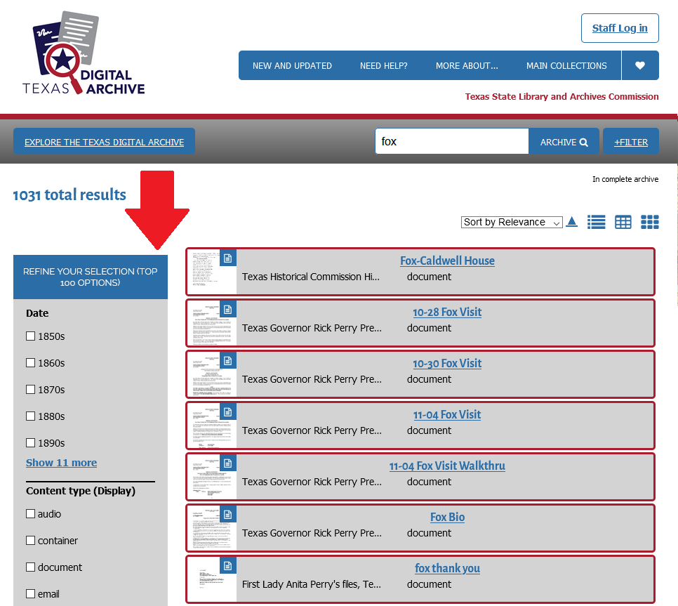 screenshot of search results in the TDA with a red arrow pointing to Refine Your Selection