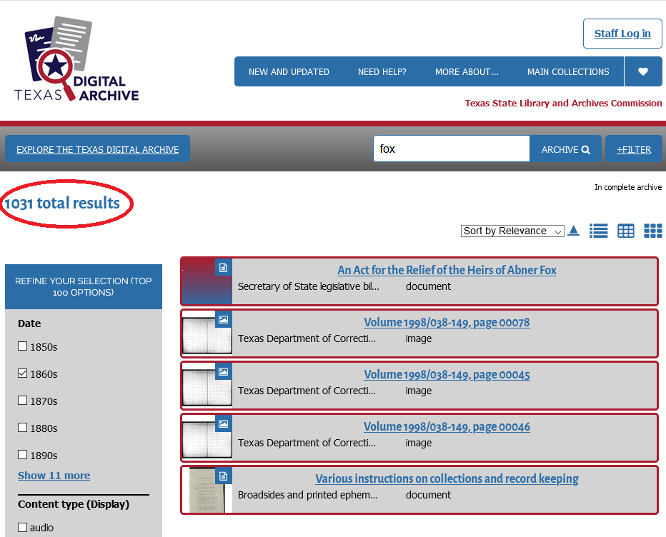 screenshot of the TDA with number of search results circled in red and red arrow pointing to format group types