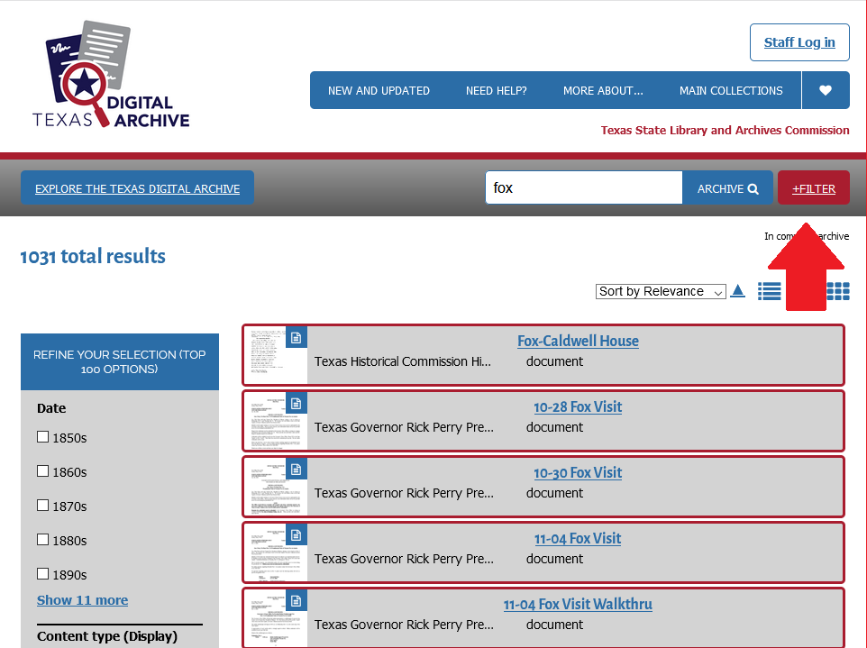 screenshot of TDA search results with a red arrow pointing to the +Filter button