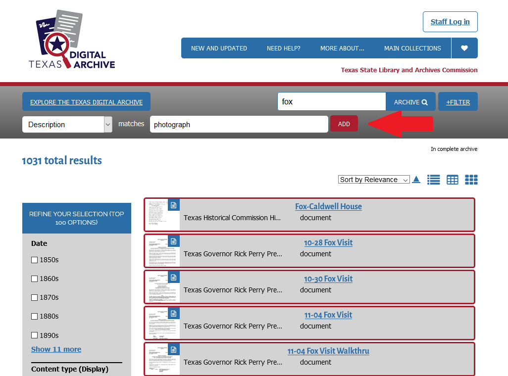screenshot of TDA search results with red arrow pointing to the Add button for filters