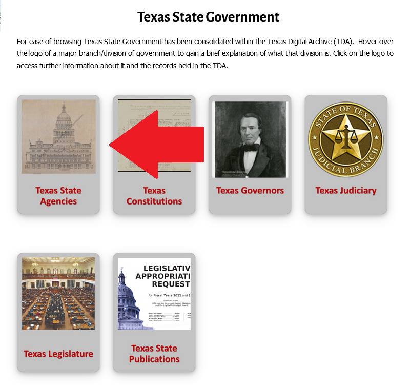 """red arrow pointing to """"Texas State Agencies"""" button on the TDA"""