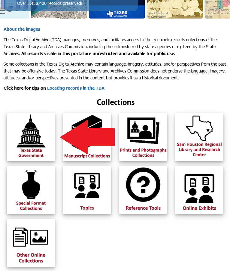 Screenshot of the TDA homepage with a red arrow pointing to the Texas State Government icon.
