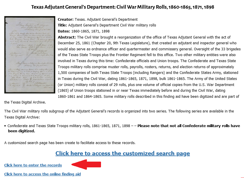 """Screenshot of the Texas Adjutant General's Department page with a red arrow pointing to a link titled """"Click here to enter the records""""."""