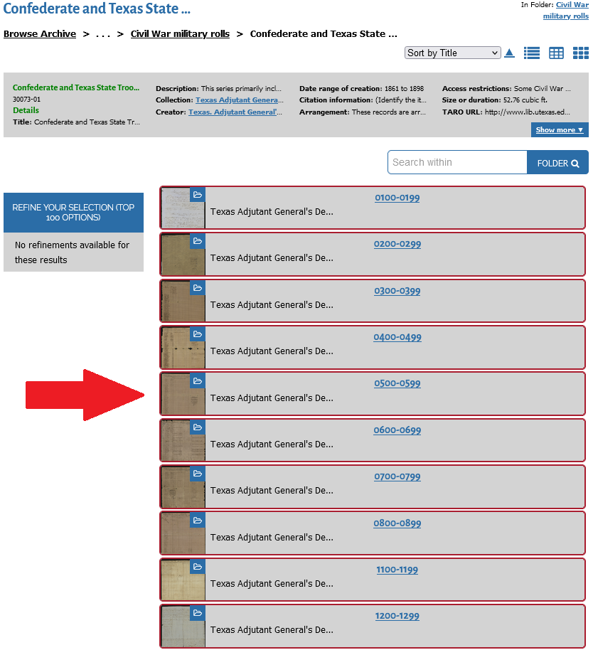 Screenshot of search results in the TDA for military rolls.