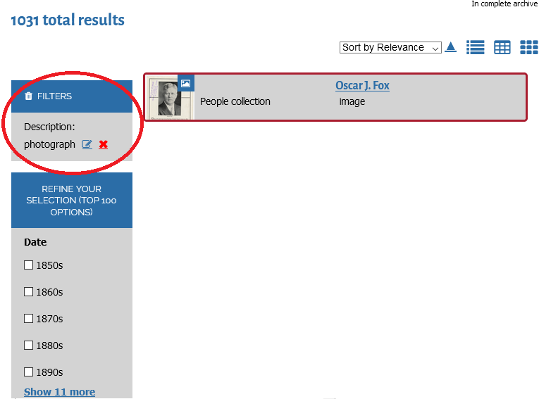 screenshot of TDA search results with filter options circled in red