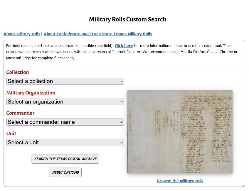 Screenshot of the Military Rolls Custom search webpage