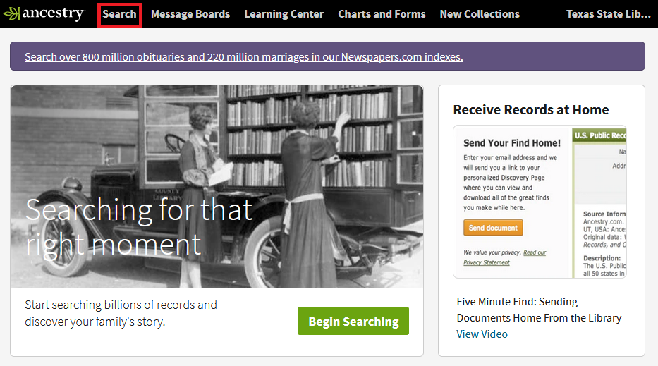 screenshot of Ancestry homepage with a red box around the Search button