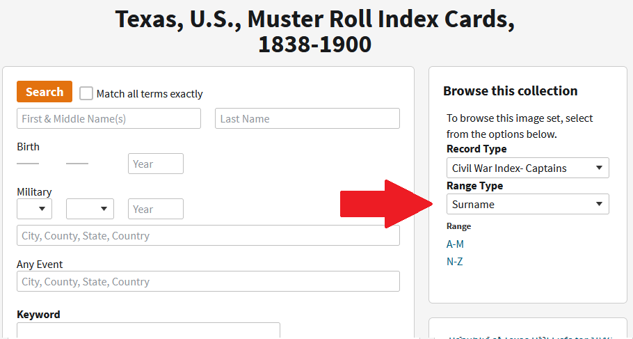 Screenshot of the Texas, Muster Roll Index Cards, 1838-1900 database in Ancestry with red arrow pointing to dropdown box for Record Type.